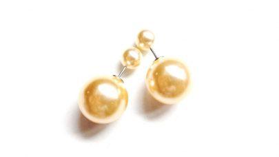 Σκουλαρίκια με διπλές πέρλες