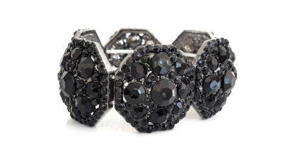 Μεταλλικό ελαστικό βραχιόλι με μαύρες πέτρες