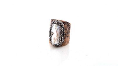 Δχατυλίδι με δέρμα και φυσική πέτρα