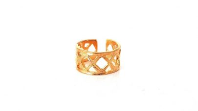 Μπρούτζινο χυτό δαχτυλίδι με σχέδιο Χ.