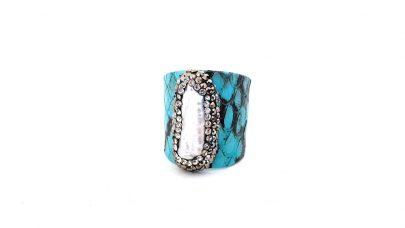 Δαχτυλίδι με δέρμα και φυσική πέτρα