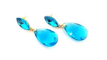Κρεμαστά σκουλαρίκια με κρυστάλλινες πέτρες