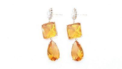 Κρεμαστά σκουλαρίκια με κίτρινες πέτρες