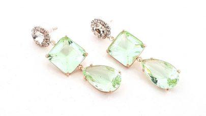 Κρεμαστά σκουλαρίκια με πράσινες πέτρες