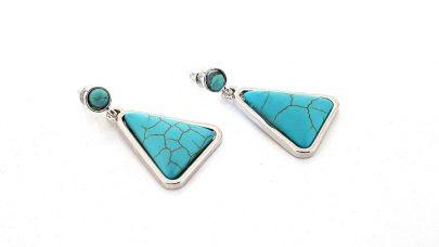 Κρεμαστά σκουλαρίκια με τιρκουάζ πέτρες χαολίτη