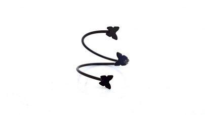 Δαχτυλίδι μαύρο με πεταλούδες