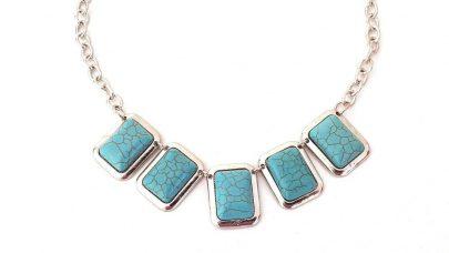 Boho κολιέ με γαλάζιες πέτρες