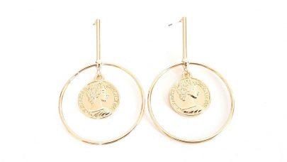 Σκουλαρίκια με κρίκο και νόμισμα