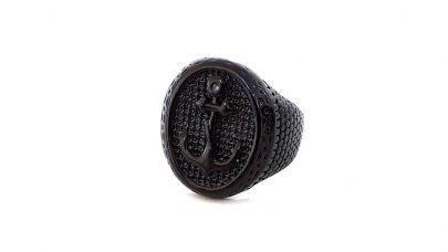 Ανδρικό μαύρο δαχτυλίδι με άγκυρα