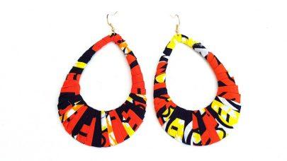 Σκουλαρίκια με πολύχρωμο ύφασμα