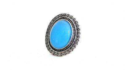 Ασημένιο 925 δαχτυλίδι με γαλάζια πέτρα