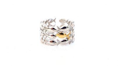 Ασημένιο 925 δαχτυλίδι με ψαράκια