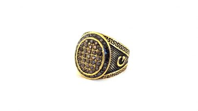 Men's ring with rhinestones