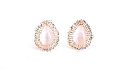 Σκουλαρίκια με κλιπ με ροζ πέτρα