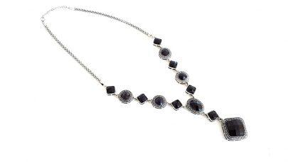 Boho κολιέ με μαύρες πέτρες
