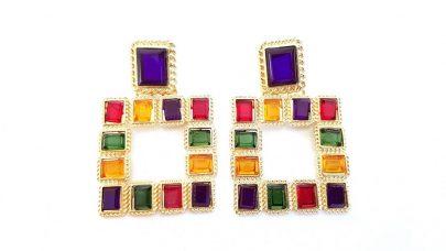Τετράγωνα πολύχρωμα σκουλαρίκια