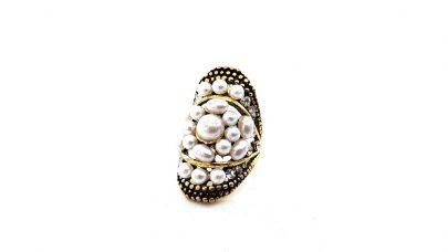 Μπρονζέ δαχτυλίδι με πέρλες