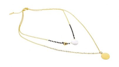 Steel double necklace