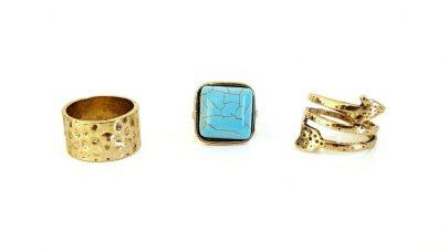Σετ boho δαχτυλιδιών με γαλάζια πέτρα