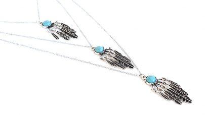 Boho μακρύ κολιέ με φτερά