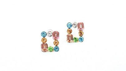 Σκουλαρίκια με πολύχρωμες χάντρες