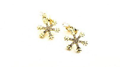 Κρεμαστά κλιπ σκουλαρίκια με χιονονιφάδες
