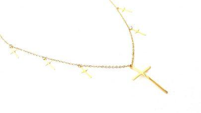 Ατσαλινο κολιέ με σταυρούς