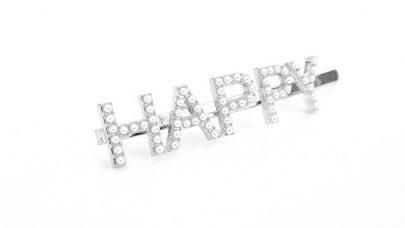 Κλιπ μαλλιών με τη λέξη HAPPY